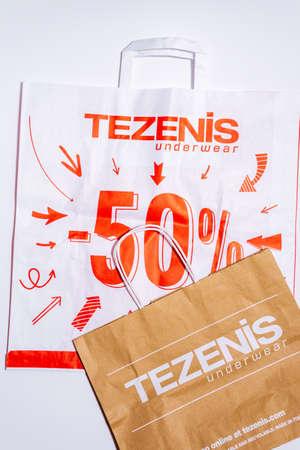 Tyumen, Russia-August 01, 2020: shopping bags, top view. Tezenis logo. Tezenis is an Italian fashion brand own by Calzedonia 新闻类图片