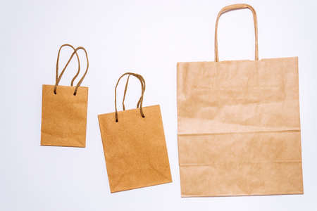 eco-friendly packaging, eco bag, top view, paper packaging Shopping, sale minimal concept. flat lay