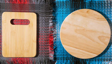 Kitchenware, cutting board empty plate Wooden wooden top view. flat lay