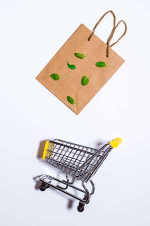 paper shopping bags, copy space. Eco shopping concept, zero waste.