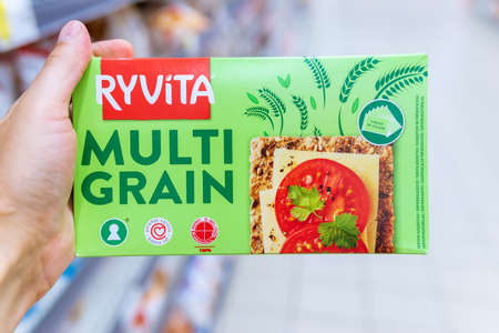 Tyumen, Russia-August 01, 2020: Crusty bread with fried seeds and grains. Ryvita Multigrain Rye Bread Rye