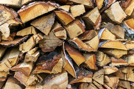 Pile wood. Deforestation theme. Wood industry. Chopped wood Woodpile scene Imagens