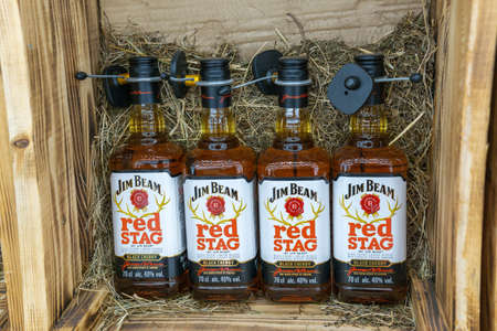 Tyumen, Russia-August 15, 2020: Jim Beam Bourbon Kentucky Straight Whiskey. on the shelves of a metro hypermarket