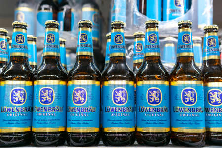 Tyumen, Russia-October 11, 2020: Lowenbrau beerbottle on the shelves of the metro cash and carry grocery hypermarket