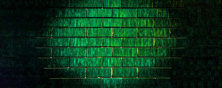 Grunge stonewall background. Old damaged brick wall with shabby plaster. Empty old brick wall texture. green color concept, duotone. 免版税图像