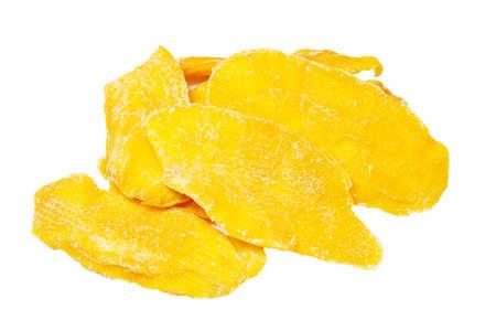 pile of slice dehydrated mango isolated on white background