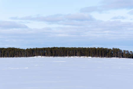 Winter nature and landscape. blue sky and frozen ice lake. Forest at horizon. Archivio Fotografico