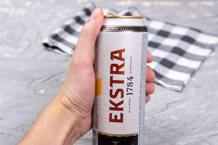 Tyumen, Russia-February 26, 2021: Svyturys Ekstra beer can. lager beer from latvia Editoriali