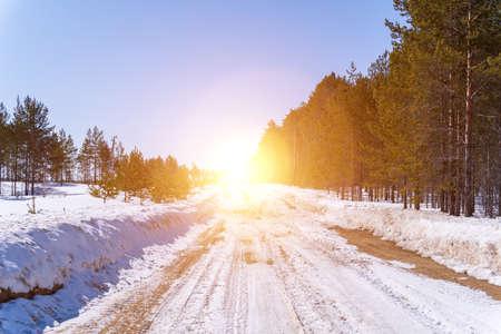 Winter road snowy road in forest in sunny day. Archivio Fotografico