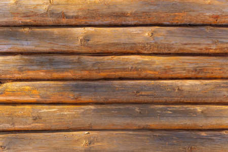 texture background of a log of a wooden house. background with copy space Archivio Fotografico