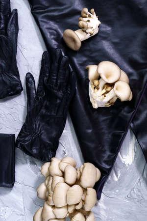 eco leather based on mushroom mycelium. Reusable alternative leather, top view. vertical photo Stok Fotoğraf