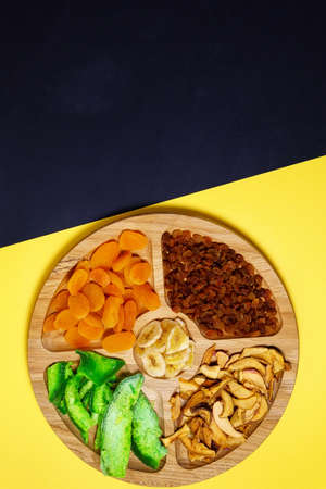 Mix dried fruits with copy space. Top view. Symbols of the Jewish holiday of Tu Bishvat Stok Fotoğraf