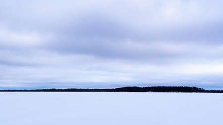 Winter nature and landscape. Frozen ice lake. Forest at horizon.