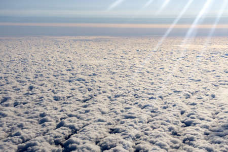 View of a cloud with a blue sky from the window. With space to copy text