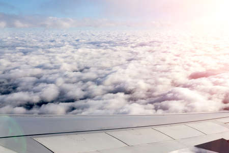 wing of the plane. The photo is used for travel operators. Travel concept