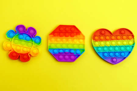 Toy pop it. Rainbow color. Antistress toy for children and adult. Top view Stok Fotoğraf