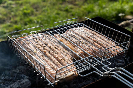 Fish on grill seafood grilled fish food. Selective focus