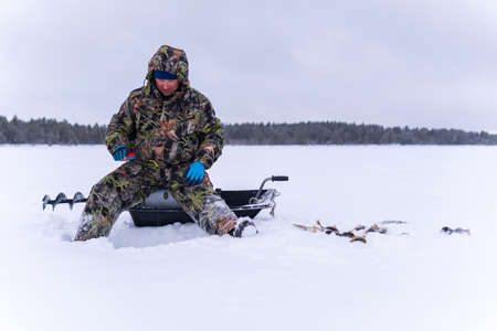 winter fisherman on the lake catches perch on a winter fishing trip.