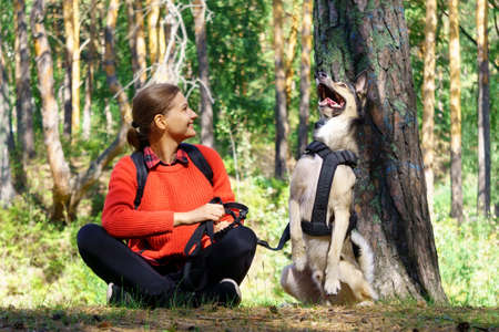 A girl is playing with her dog in the forest. Friendship between human and dog.