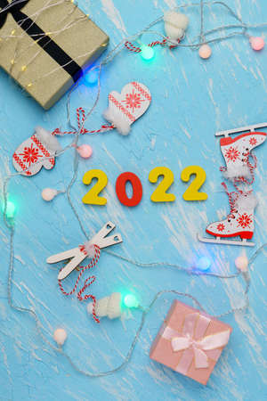 New Year Christmas holiday 2022 celebration box background copy space. Postcard text design. Vertical photo