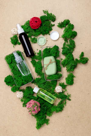 Cosmetics and natural soap Moss stones. Natural cosmetics concept. Vertical photo