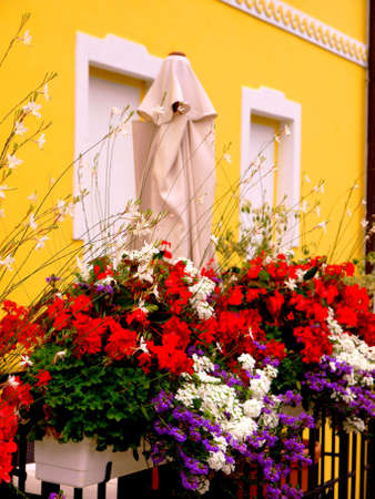 Flowers on a balcony photo