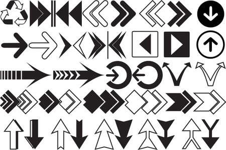 u turn: Black arrows colection Illustration