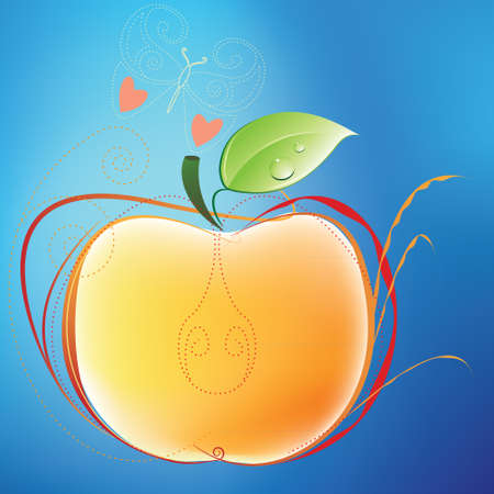 Apple and butterfly against blue background Illustration