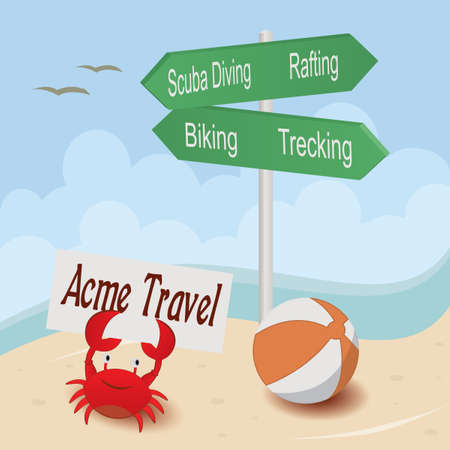 Beach with sign and crab. Vectores