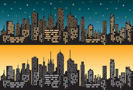 Panorama of city silhouette isolated during day and night