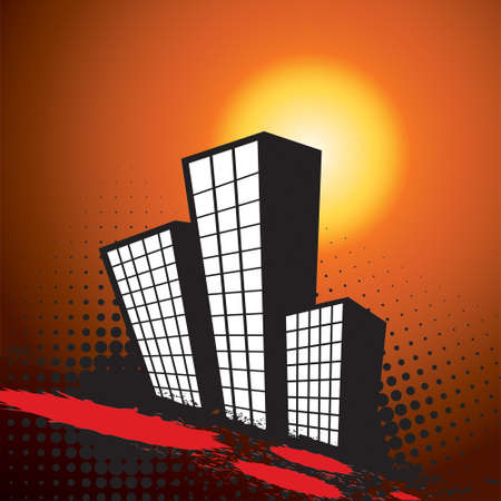 urbanized: Urban Landscapes in sunset over grunge background