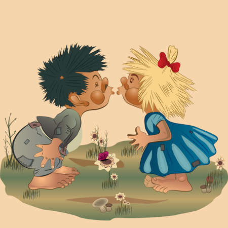 suspenders: Illustration of a little boy and girl kissing