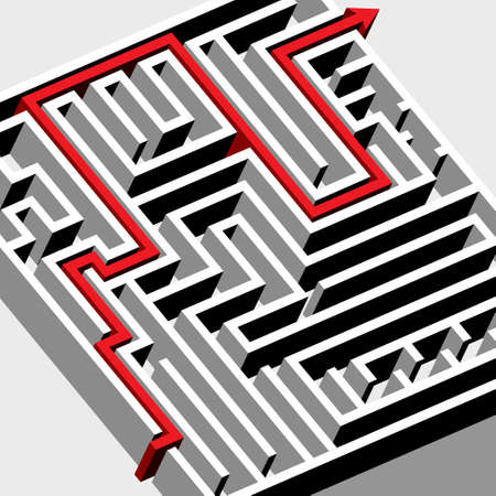red arrow: Labyrinth 3d extruded object with red arrow