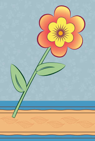 Retro Folder with flower and sticker. Illustration
