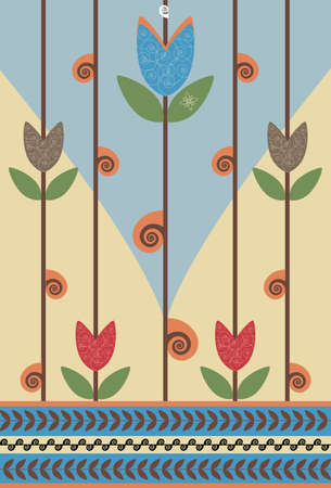notebook cover: Retro flower background design. Suitable for notebook cover. Illustration