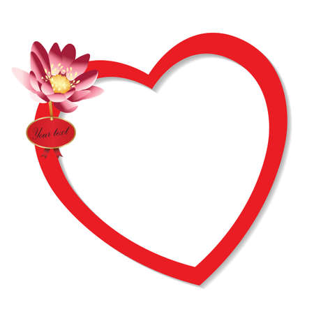 Heart frame with flower on white background