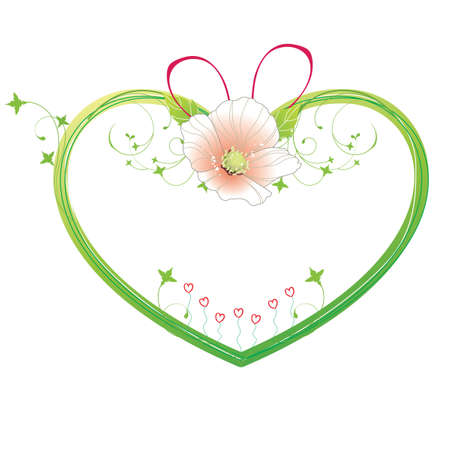 dash: Heart shape frame with flower.