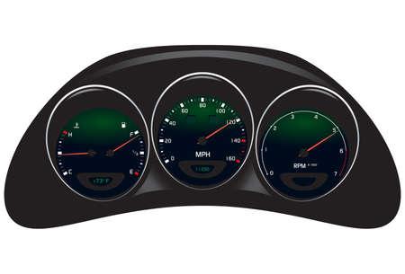車のダッシュ ボードは、白で隔離のベクトル イラスト。  イラスト・ベクター素材