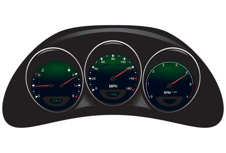 Vector illustrations of car dashboard, isolated on white.
