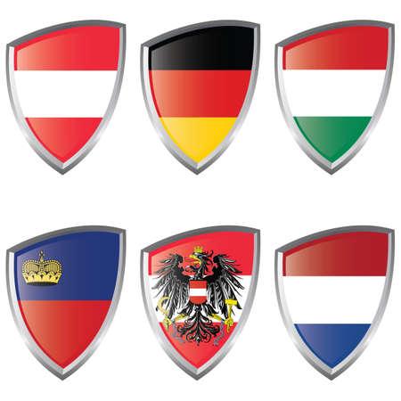 lichtenstein: Central 2 Europe Shield flag Austria Germany Hungary Lichtenstein Illustration