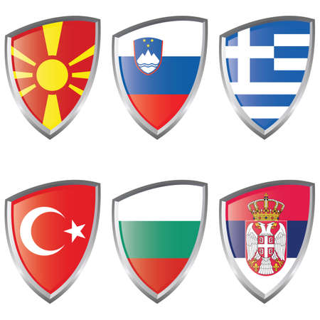 South 2 Europe Shield Flag Bulgaria Greece Macedonia Serbia Slovenia Turkey