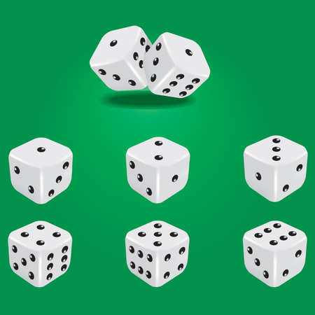Six white dice. Showing all sides.