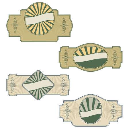 Plain illustration of a  Retro vintage labels on white background Illustration