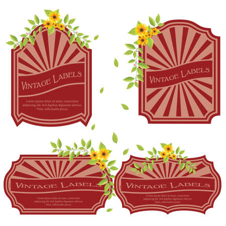 Vintage labels with flowers isolated on white