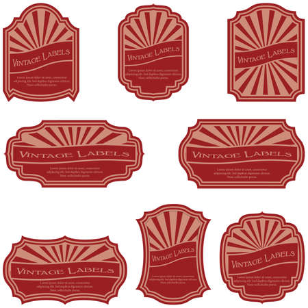 Red Vintage labels isolated on white background. Illustration