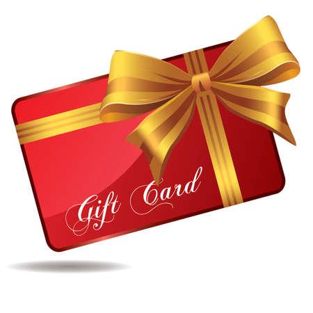 Rode giftkaart die op wit wordt geïsoleerd Stock Illustratie
