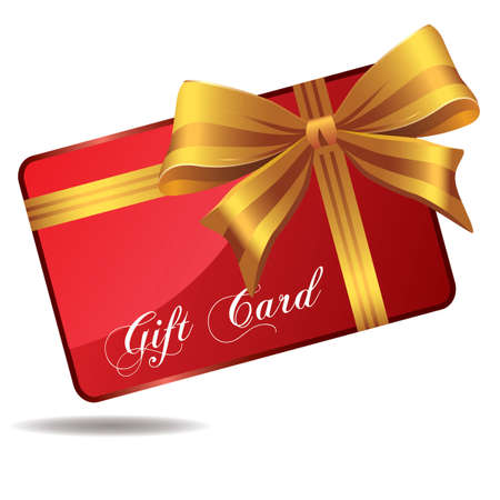 Red gift card isolated on white