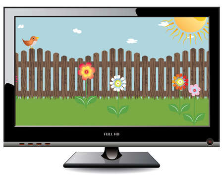 hdtv: Plasma LCD TV, vector illustration, isolated on white Illustration