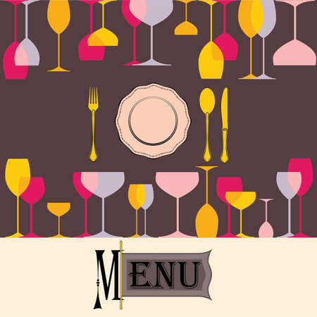 Menu vector label with glasess on background