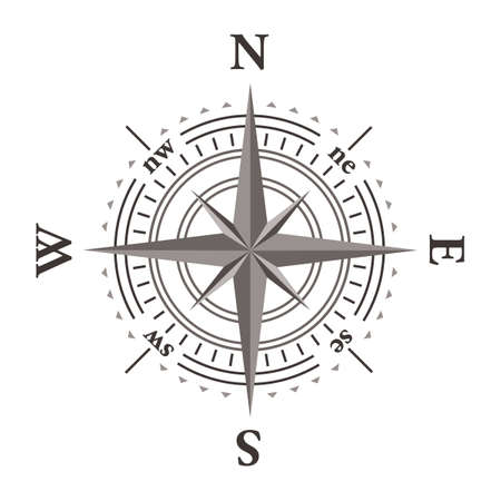 hiking: Vector wind rose compass isolated on white